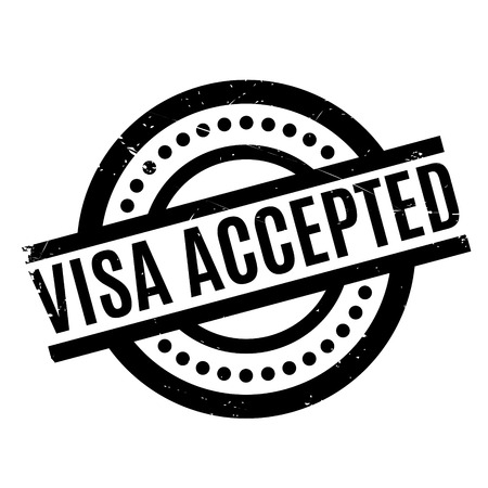 authorisation: Visa Accepted rubber stamp. Grunge design with dust scratches. Effects can be easily removed for a clean, crisp look. Color is easily changed. Stock Photo