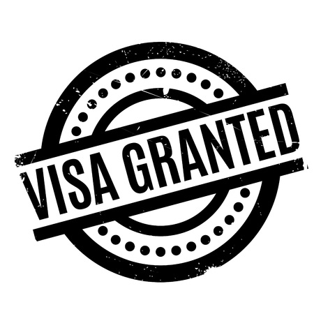 granting: Visa Granted rubber stamp. Grunge design with dust scratches. Effects can be easily removed for a clean, crisp look. Color is easily changed. Illustration