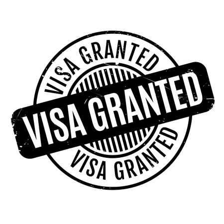 granting: Visa Granted rubber stamp. Grunge design with dust scratches. Effects can be easily removed for a clean, crisp look. Color is easily changed. Stock Photo