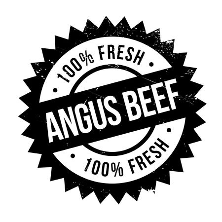 rhubarb: Angus beef stamp. Grunge design with dust scratches. Effects can be easily removed for a clean, crisp look. Color is easily changed. Illustration