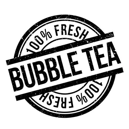 Bubble tea stamp. Grunge design with dust scratches. Effects can be easily removed for a clean, crisp look. Color is easily changed. Vettoriali