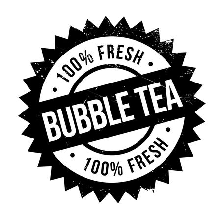Bubble tea stamp. Grunge design with dust scratches. Effects can be easily removed for a clean, crisp look. Color is easily changed. Illustration