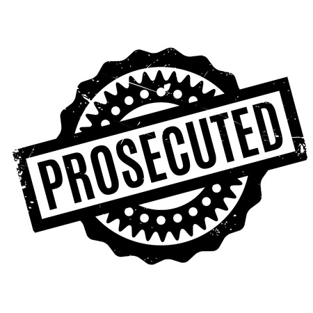 criminal case: Prosecuted rubber stamp. Grunge design with dust scratches. Effects can be easily removed for a clean, crisp look. Color is easily changed.