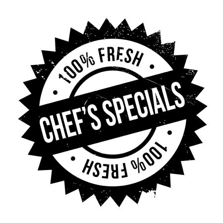 potluck: Chef specials stamp. Grunge design with dust scratches. Effects can be easily removed for a clean, crisp look. Color is easily changed.