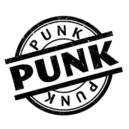 Punk rubber stamp. Grunge design with dust scratches. Effects can be easily removed for a clean, crisp look. Color is easily changed.