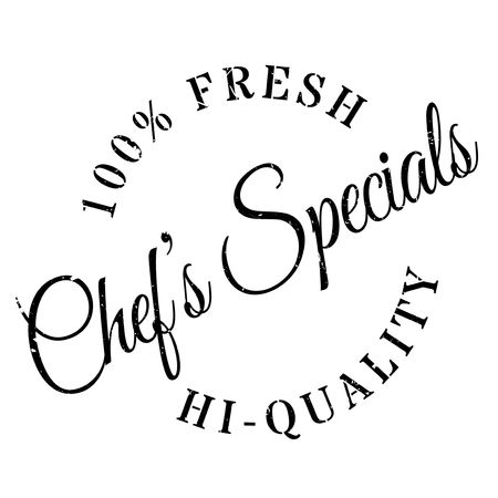 grub: Chef specials stamp. Grunge design with dust scratches. Effects can be easily removed for a clean, crisp look. Color is easily changed.