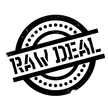 Raw Deal rubber stamp. Grunge design with dust scratches. Effects can be easily removed for a clean, crisp look. Color is easily changed. Illustration