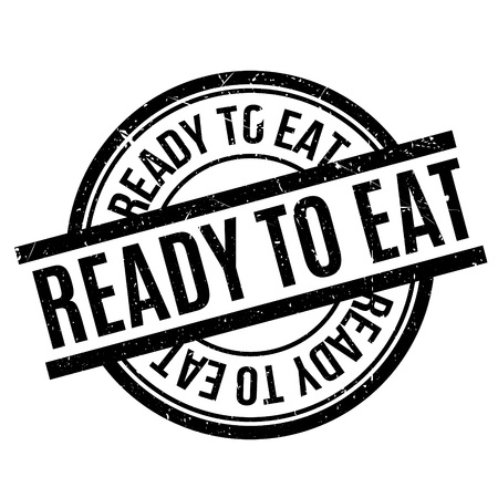 Ready To Eat rubber stamp. Grunge design with dust scratches. Effects can be easily removed for a clean, crisp look. Color is easily changed. Illustration
