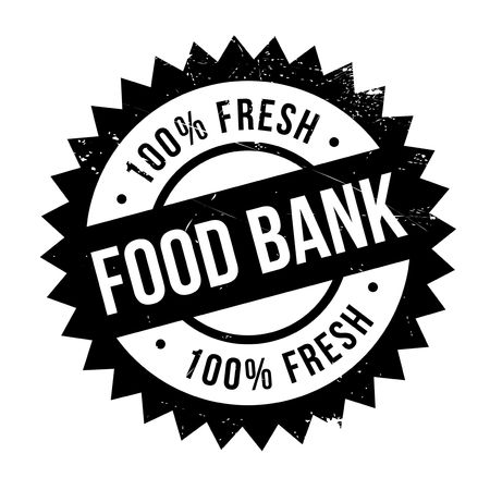 Food bank stamp. Grunge design with dust scratches. Effects can be easily removed for a clean, crisp look. Color is easily changed. Stock Photo