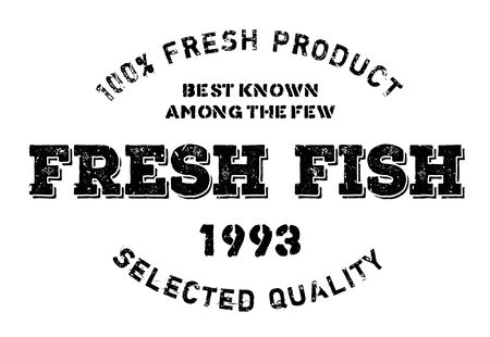 Fresh fish stamp. Grunge design with dust scratches. Effects can be easily removed for a clean, crisp look. Color is easily changed.