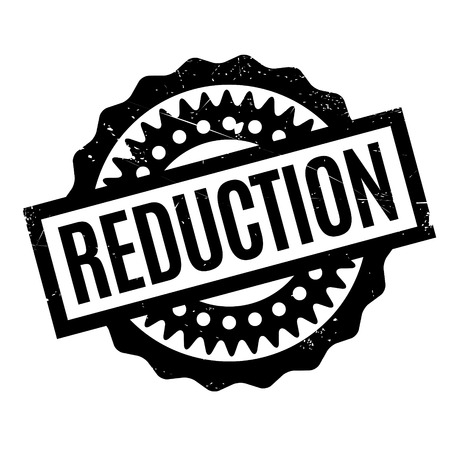 minimization: Reduction rubber stamp. Grunge design with dust scratches. Effects can be easily removed for a clean, crisp look. Color is easily changed.