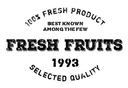 uncultivated: Fresh fruits stamp. Grunge design with dust scratches. Effects can be easily removed for a clean, crisp look. Color is easily changed.