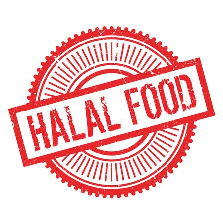 Halal food stamp. Grunge design with dust scratches. Effects can be easily removed for a clean, crisp look. Color is easily changed. Illustration