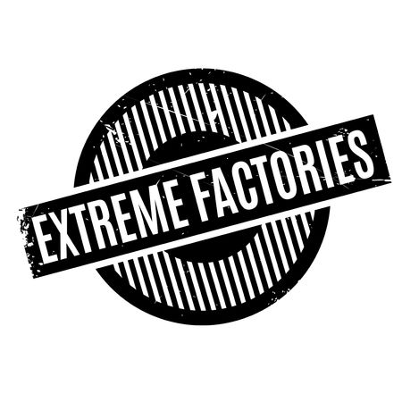 Extreme Factories rubber stamp. Grunge design with dust scratches. Effects can be easily removed for a clean, crisp look. Color is easily changed. Stock Vector - 68453005