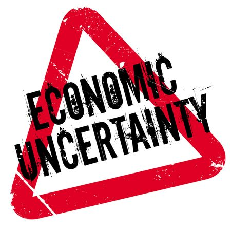 budgetary: Economic Uncertainty rubber stamp. Grunge design with dust scratches. Effects can be easily removed for a clean, crisp look. Color is easily changed.