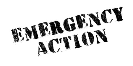 alarming: Emergency Action rubber stamp. Grunge design with dust scratches. Effects can be easily removed for a clean, crisp look. Color is easily changed.