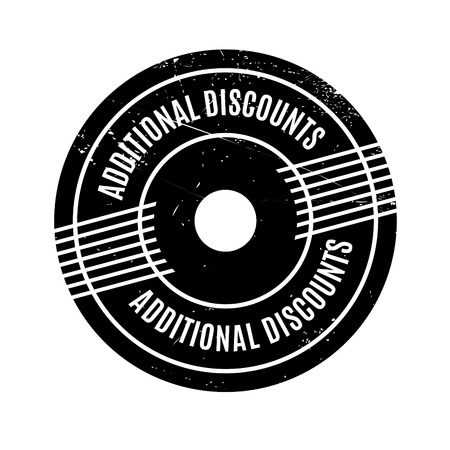 padding: Additional Discounts rubber stamp. Grunge design with dust scratches. Effects can be easily removed for a clean, crisp look. Color is easily changed.