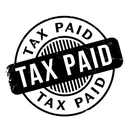 taxpayer: Tax Paid rubber stamp. Grunge design with dust scratches. Effects can be easily removed for a clean, crisp look. Color is easily changed. Illustration