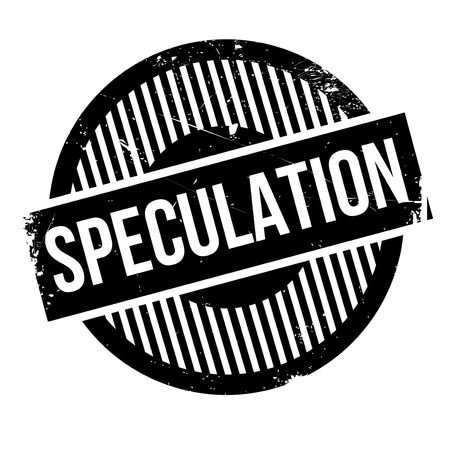 Speculation rubber stamp. Grunge design with dust scratches. Effects can be easily removed for a clean, crisp look. Color is easily changed.
