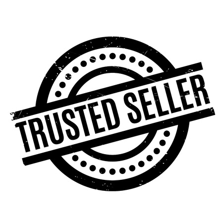 retailer: Trusted Seller rubber stamp. Grunge design with dust scratches. Effects can be easily removed for a clean, crisp look. Color is easily changed.