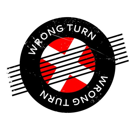 awry: Wrong Turn rubber stamp Illustration