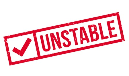 unstable: Unstable rubber stamp. Grunge design with dust scratches. Effects can be easily removed for a clean, crisp look. Color is easily changed. Illustration