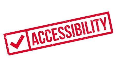 accessing: Accessibility rubber stamp. Grunge design with dust scratches. Effects can be easily removed for a clean, crisp look. Color is easily changed. Illustration
