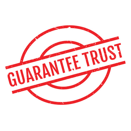 certainty: Guarantee Trust rubber stamp. Grunge design with dust scratches. Effects can be easily removed for a clean, crisp look. Color is easily changed.
