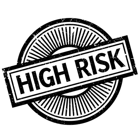 hazardous sign: High Risk rubber stamp. Grunge design with dust scratches. Effects can be easily removed for a clean, crisp look. Color is easily changed.