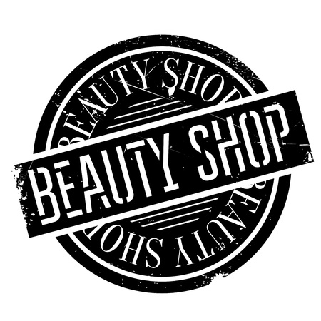 allurement: Beauty Shop rubber stamp. Grunge design with dust scratches. Effects can be easily removed for a clean, crisp look. Color is easily changed. Illustration