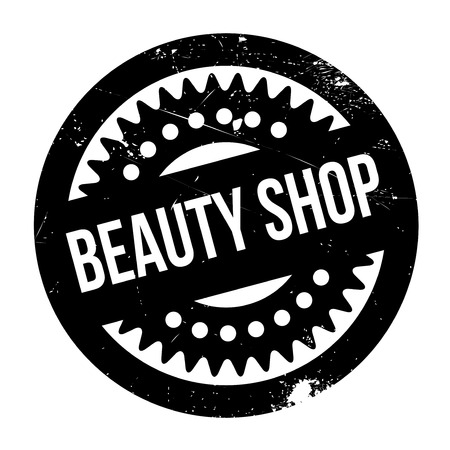 Beauty Shop rubber stamp. Grunge design with dust scratches. Effects can be easily removed for a clean, crisp look. Color is easily changed. Illustration