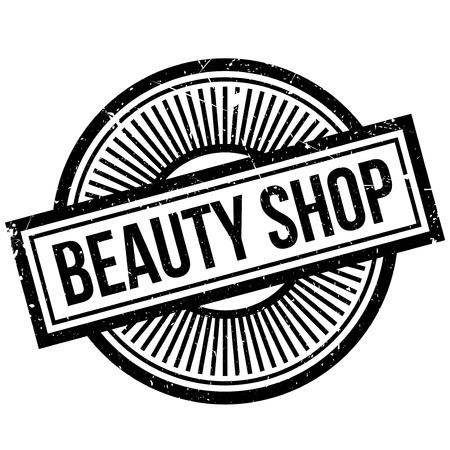 allurement: Beauty Shop rubber stamp. Grunge design with dust scratches. Effects can be easily removed for a clean, crisp look. Color is easily changed. Stock Photo
