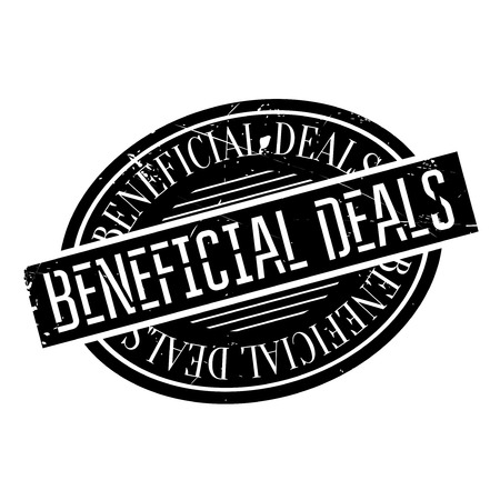 serviceable: Beneficial Deals rubber stamp. Grunge design with dust scratches. Effects can be easily removed for a clean, crisp look. Color is easily changed. Stock Photo