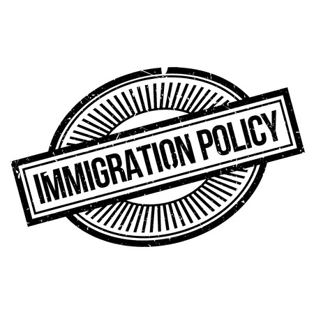 Immigration Policy rubber stamp. Grunge design with dust scratches. Effects can be easily removed for a clean, crisp look. Color is easily changed. Иллюстрация
