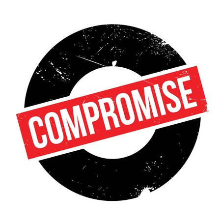 compromise: Compromise rubber stamp. Grunge design with dust scratches. Effects can be easily removed for a clean, crisp look. Color is easily changed. Illustration