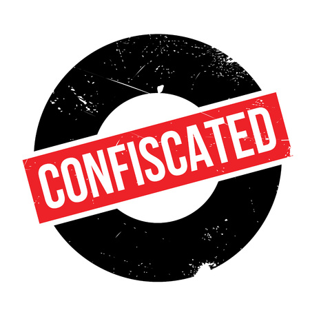 confiscated: Confiscated rubber stamp. Grunge design with dust scratches. Effects can be easily removed for a clean, crisp look. Color is easily changed.