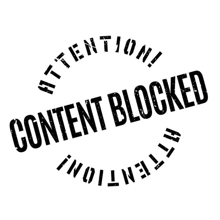 blockade: Content Blocked rubber stamp. Grunge design with dust scratches. Effects can be easily removed for a clean, crisp look. Color is easily changed.
