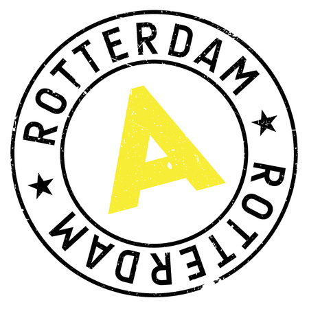 Rotterdam stamp. Grunge design with dust scratches. Effects can be easily removed for a clean, crisp look. Color is easily changed.