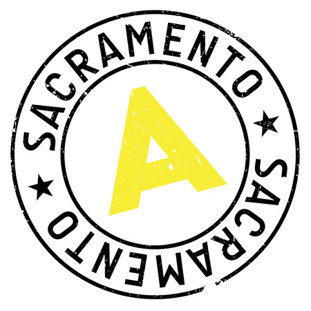 Sacramento stamp. Grunge design with dust scratches. Effects can be easily removed for a clean, crisp look. Color is easily changed.