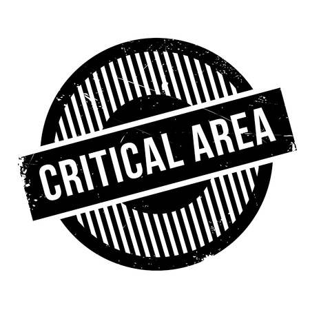 Critical Area rubber stamp. Grunge design with dust scratches. Effects can be easily removed for a clean, crisp look. Color is easily changed.
