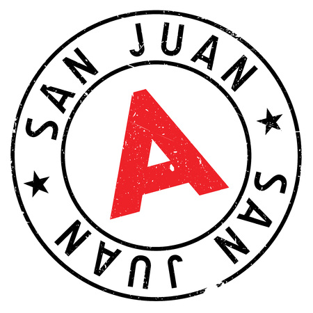 San Juan stamp. Grunge design with dust scratches. Effects can be easily removed for a clean, crisp look. Color is easily changed. Illustration