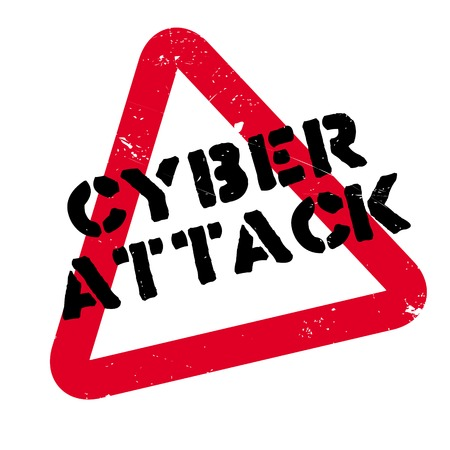 Cyber Attack rubber stamp. Grunge design with dust scratches. Effects can be easily removed for a clean, crisp look. Color is easily changed. Illustration