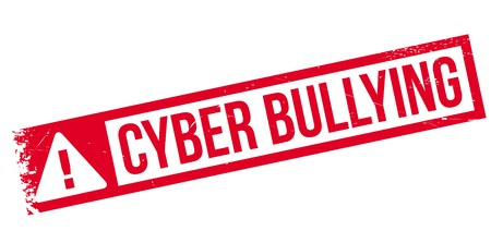 chat room: Cyber Bullying rubber stamp. Grunge design with dust scratches. Effects can be easily removed for a clean, crisp look. Color is easily changed. Illustration
