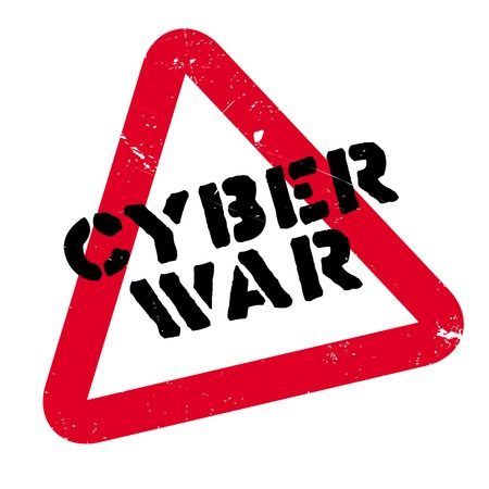 Cyber War rubber stamp. Grunge design with dust scratches. Effects can be easily removed for a clean, crisp look. Color is easily changed. Illustration