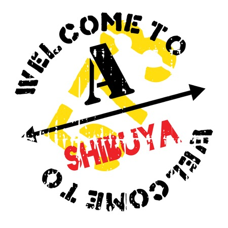 Shibuya stamp. Grunge design with dust scratches. Effects can be easily removed for a clean, crisp look. Color is easily changed. Illustration