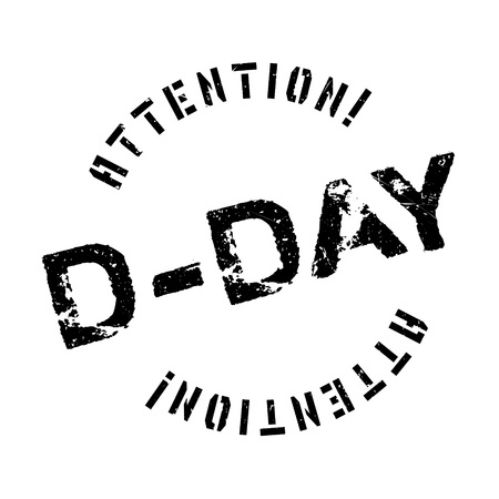deliverance: D-Day rubber stamp. Grunge design with dust scratches. Effects can be easily removed for a clean, crisp look. Color is easily changed. Illustration