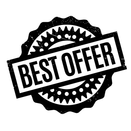 Best Offer rubber stamp. Grunge design with dust scratches. Effects can be easily removed for a clean, crisp look. Color is easily changed. Stock Photo