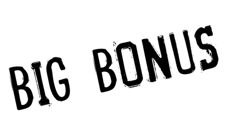handout: Big Bonus rubber stamp. Grunge design with dust scratches. Effects can be easily removed for a clean, crisp look. Color is easily changed. Illustration