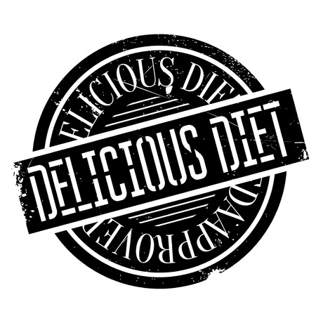 sapid: Delicious Diet rubber stamp. Grunge design with dust scratches. Effects can be easily removed for a clean, crisp look. Color is easily changed.