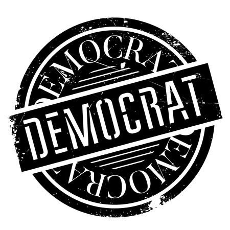 Democrat rubber stamp. Grunge design with dust scratches. Effects can be easily removed for a clean, crisp look. Color is easily changed. Illustration